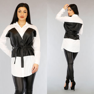 Lange weißes Hemd mit schwarzer Lederoptik