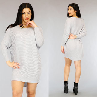 NEW0303 Loose-Fit Grey Mullet Pullover Kleid