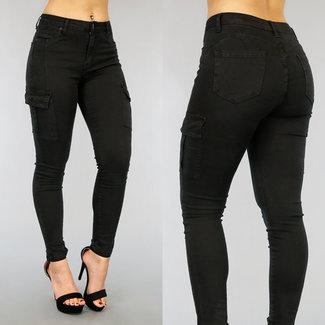 NEW0303 Schwarz High Waist Fracht Push-Up Jeans
