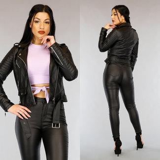 NEW0303 Schauen Sie Croco schwarze Lederjacke
