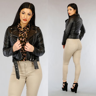 NEW0303 Schwarz-Leder-Blick-Jacke mit Gürtel