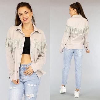 Graue Jeans Bluse Jacke mit Fransen