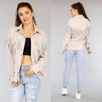 NEW0303 Graue Jeans Bluse Jacke mit Fransen