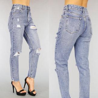 NEW0303 Alt Look Mom Jeans mit hoher Taille Tränen