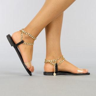 NEW1003 Schwarze Sandalen mit Kettendetail