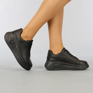 NEW1003 Basic Black Sneakers mit Grove Plateausohle