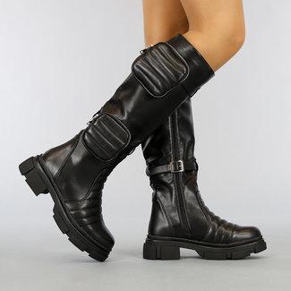 Grove Long Black Biker Boots mit Taschen