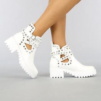Weiß Offen Lederlook Stiefeletten mit Nieten