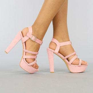 NEW1003 Hellrosa Veloursleder-Optik Sandaletten mit Riemchen