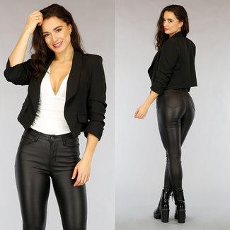 !OP=OP Schwarzer Blazer mit kurzen Ärmeln plissierten