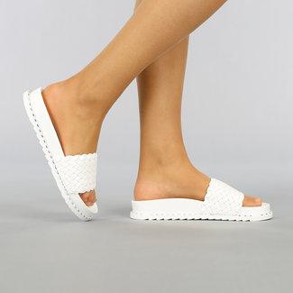 NEW1703 Weiß Geflochtene Sandalen mit Nieten