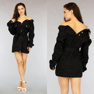 Black Denim Off-Shoulder-Kleid mit Bund