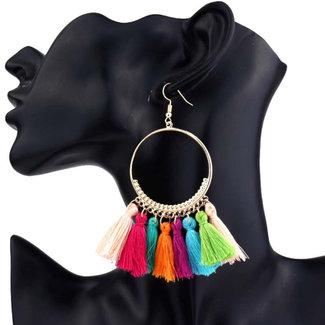NEW1703 Gold runde Ohrringe mit farbigem Fringes