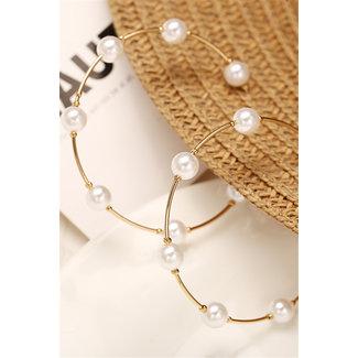 NEW1703 Goldene Ohrringe mit Perlen Runde