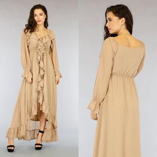 NEW1703 Off-Shoulder Beige Boho Maxi-Kleid