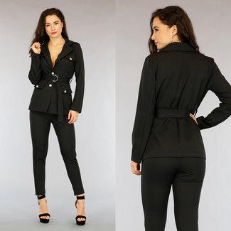 NEW1703 Zweiteiliges Set Schwarzer Blazer mit Taschen