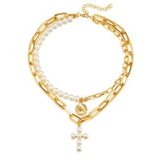NEW1703 Goldfarbene Halskette mit Perlen