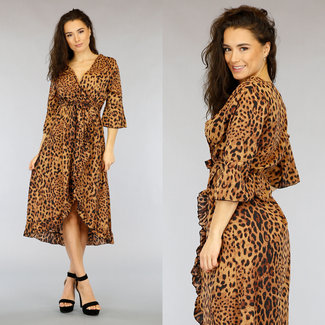 NEW2403 Brown Mullet Leopard-Kleid mit Wrap