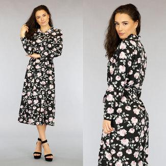 NEW2403 Schwarz Chiffon Maxi-Kleid mit Blumenmuster