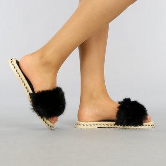 NEW2403 Schwarz Fluffy Slippers mit Seil Profil