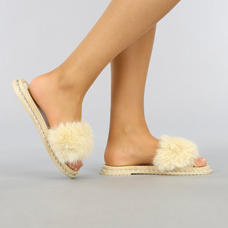 NEW2403 Beige Fluffy Slipper mit Seil Profil