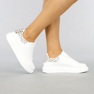NEW2403 Weiß mit Silber Sneakers und Studs