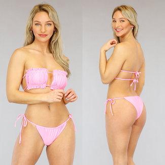 Rosa gefalteter Bandeau-Bikini mit Rüschen