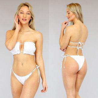 NEW3103 Weiß gefalteter Bandeau Bikini mit Rüschen