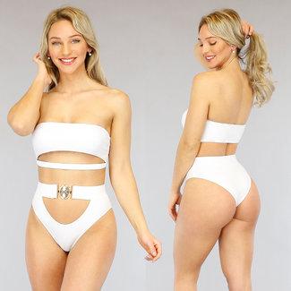 Weiß mit hohen Taille Bikini underboob