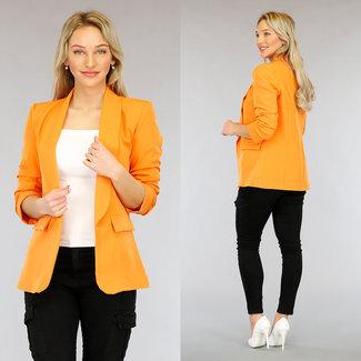 NEW3103 Orange Blazer Plissee Dreiviertel Sleeves
