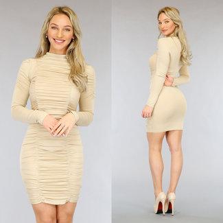 NEW3103 Beige gefaltetes Kleid Stehkragen