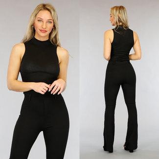NEW3103 Black High Neck Rib Bodysuit