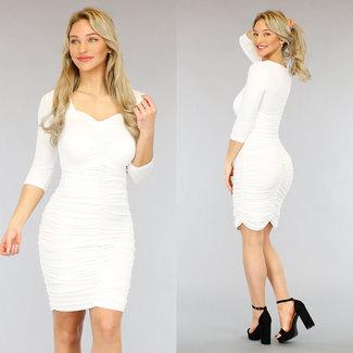 NEW3103 Weiß gefaltetes Kleid Hälfte mit langen Ärmeln