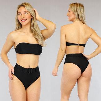 !OP=OP Schwarz Bandeau Bikini Strap