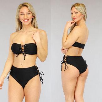 NEW3103 Schwarz High Waist Bandeau Bikini mit Schnürsenkel
