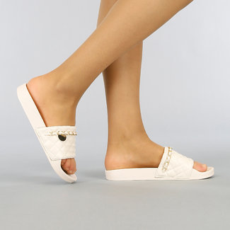 NEW0704 Nude Sandalen mit Checkered Band