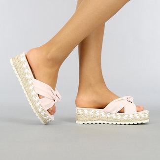 NEW0704 Hellrosa Keil-Sandalen mit Knot