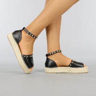Schwarz-Leder-Blick Espadrilles mit Nieten und Peeptoe