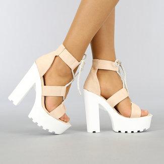 NEW0704 Beige Sandalen mit Grove Weiß Heel
