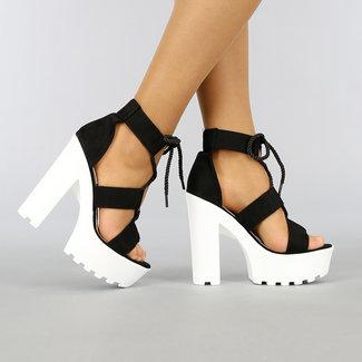 NEW0704 Schwarze Sandalen mit Grove Weiß Heel