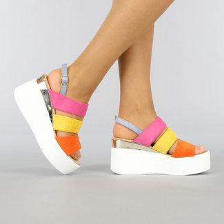 NEW0704 Multi Color-Keil-Sandalen
