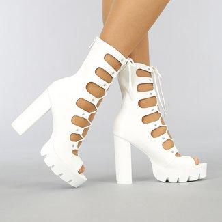 NEW0704 Weiß Caged Stiefel mit Spitze