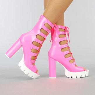 NEW0704 Neon Pink Caged Stiefel mit Spitze
