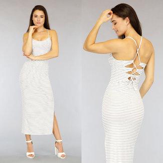 NEW2104 Weiß gestreiftes Kleid mit Spitze