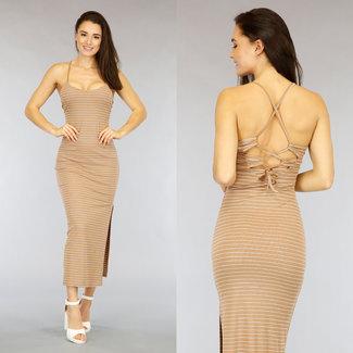 NEW2104 Taupe gestreiftes Kleid mit Spitze