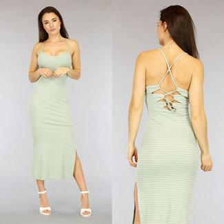 NEW2104 Mint Green Gestreiftes Kleid mit Spitze