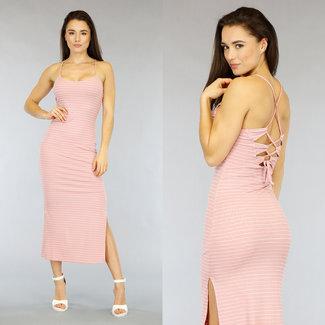 NEW2104 Rosa gestreiftes Kleid mit Spitze