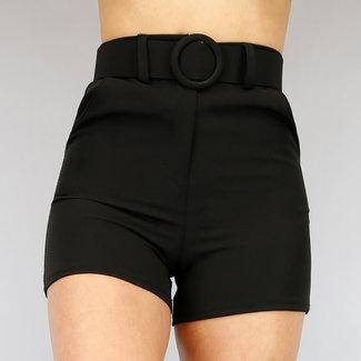 NEW2104 Schwarze Hosen Hose mit Gürtel
