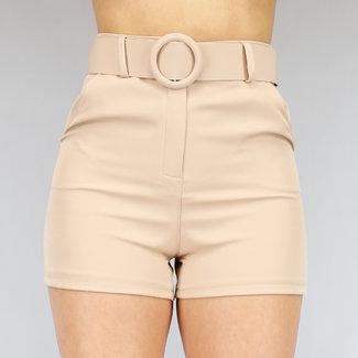 NEW2104 Beige Hose Hose mit Gürtel
