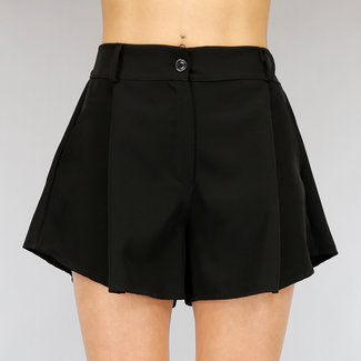 Basic Black Wide Leg Pants Short